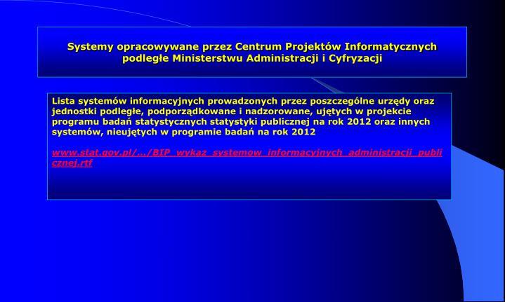 Systemy opracowywane przez Centrum Projektów Informatycznych podległe Ministerstwu Administracji i Cyfryzacji
