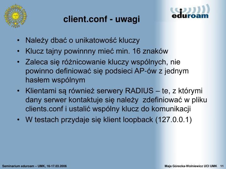 client.conf - uwagi