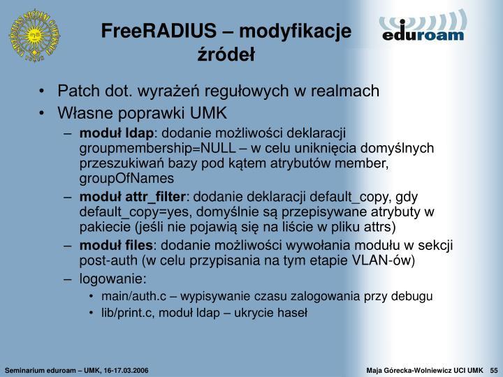 FreeRADIUS – modyfikacje źródeł