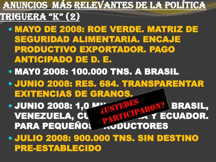 """ANUNCIOS  MÁS RELEVANTES DE LA POLÍTICA TRIGUERA """"K"""" (2)"""