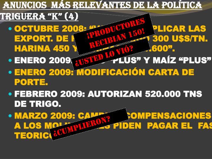 """ANUNCIOS  MÁS RELEVANTES DE LA POLÍTICA TRIGUERA """"K"""" (4)"""