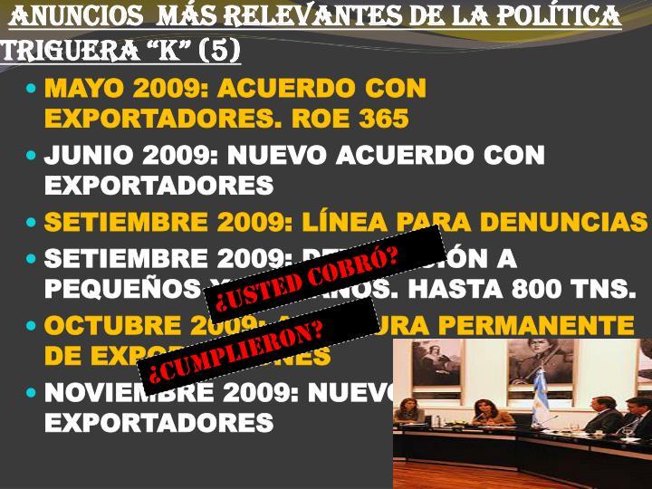 """ANUNCIOS  MÁS RELEVANTES DE LA POLÍTICA TRIGUERA """"K"""" (5)"""