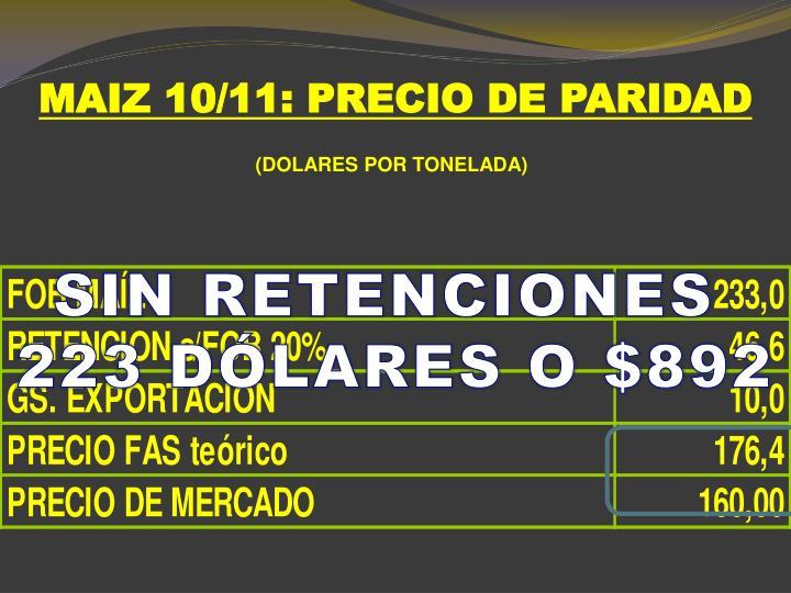 MAIZ 10/11: PRECIO DE PARIDAD