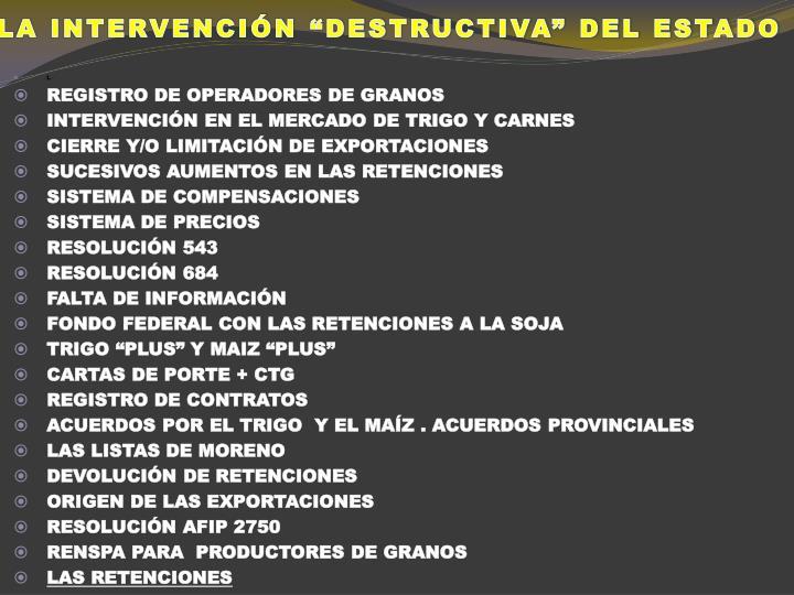 """LA INTERVENCIÓN """"DESTRUCTIVA"""" DEL ESTADO"""