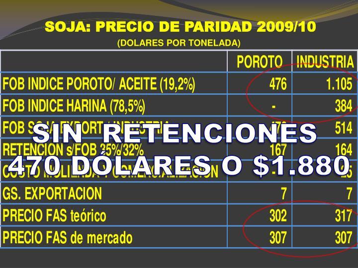 SOJA: PRECIO DE PARIDAD 2009/10
