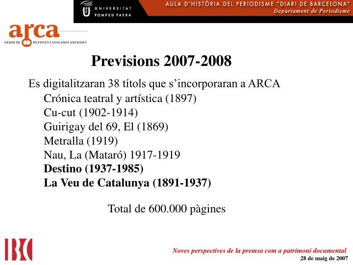 Previsions 2007-2008