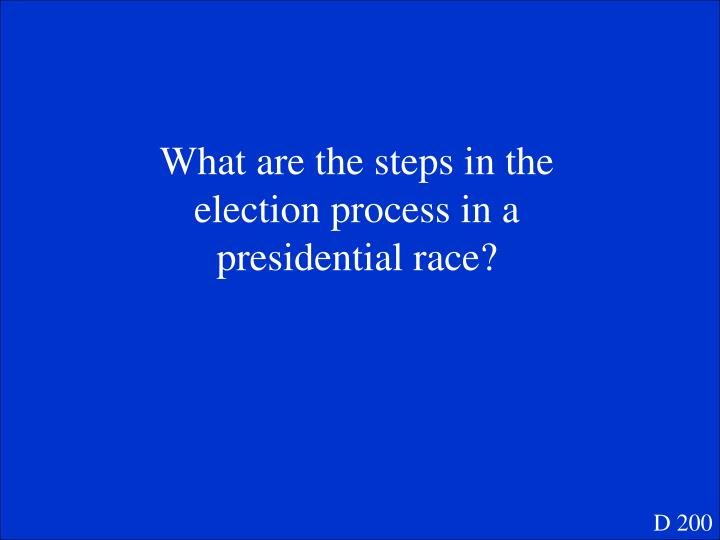 What are the steps in the election process in a presidential race?