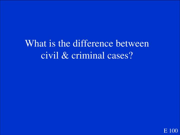What is the difference between civil & criminal cases?