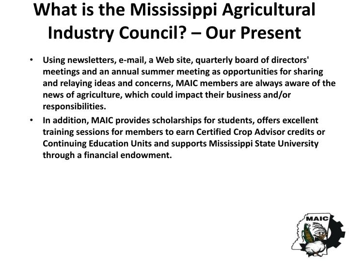 What is the Mississippi Agricultural Industry Council? – Our Present