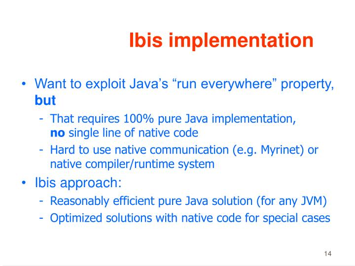 Ibis implementation