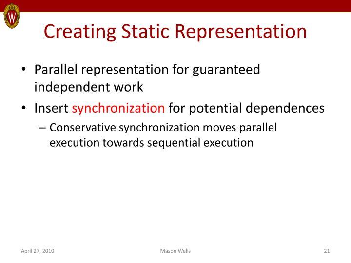 Creating Static Representation