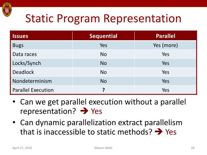 Static Program Representation