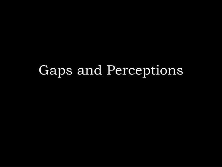 Gaps and Perceptions