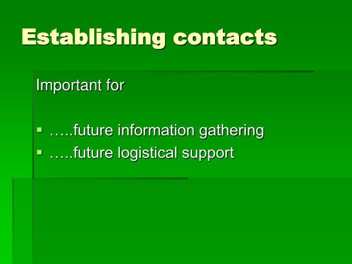 Establishing contacts