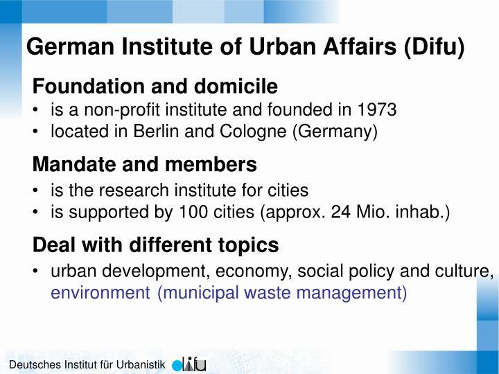 German Institute of Urban Affairs (Difu)