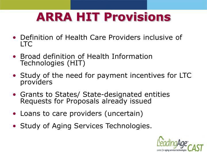 ARRA HIT Provisions