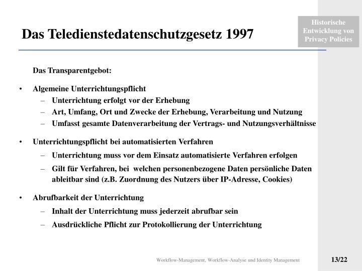 Das Teledienstedatenschutzgesetz 1997