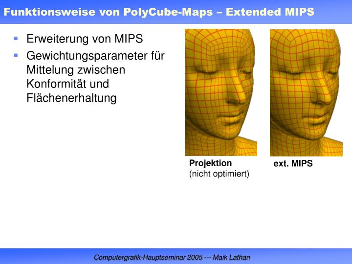Funktionsweise von PolyCube-Maps – Extended MIPS
