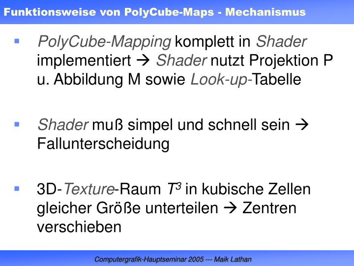 Funktionsweise von PolyCube-Maps - Mechanismus