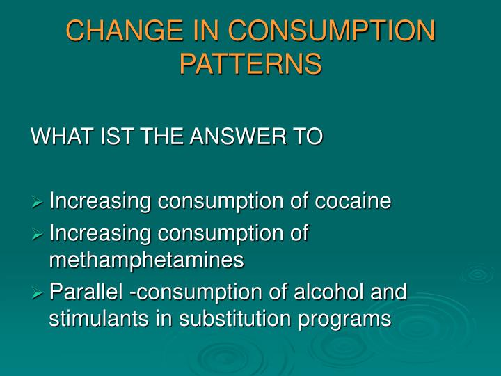 CHANGE IN CONSUMPTION PATTERNS