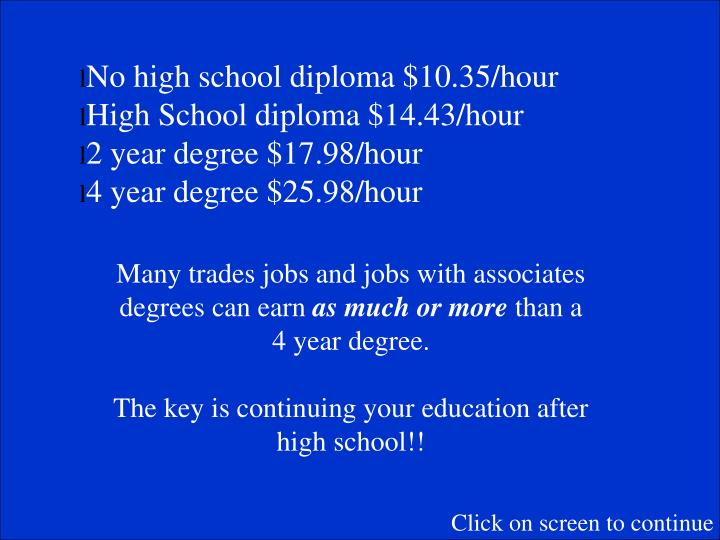 No high school diploma $10.35/hour