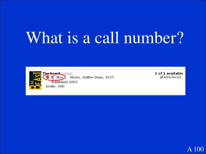 What is a call number?