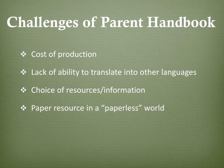 Challenges of Parent Handbook