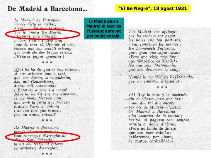 """""""El Be Negre"""", 18 agost 1931"""
