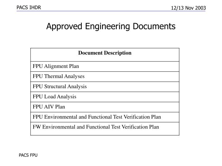 Approved Engineering Documents