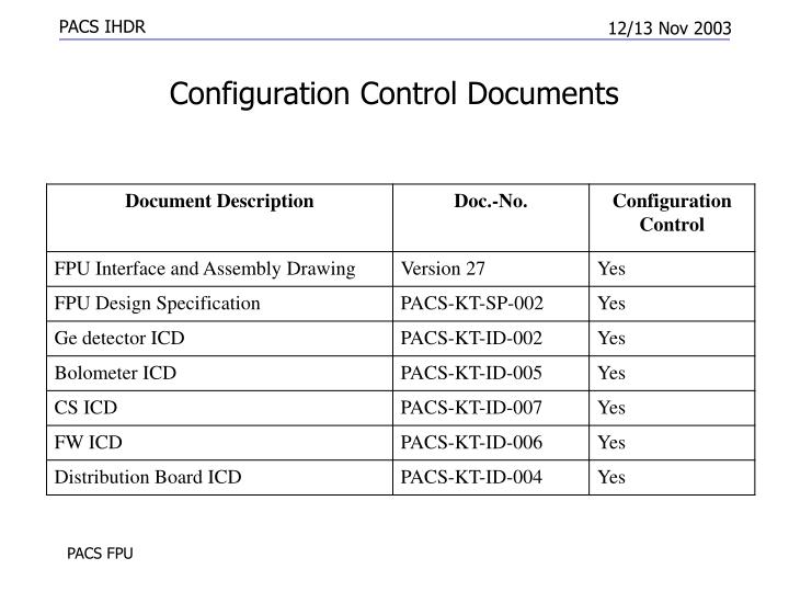 Configuration Control Documents