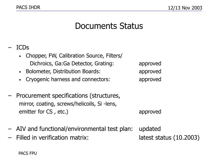 Documents Status