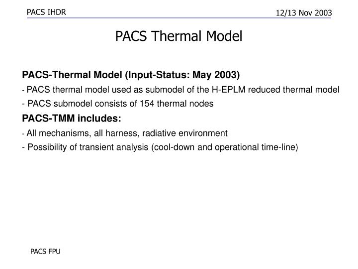 PACS Thermal Model