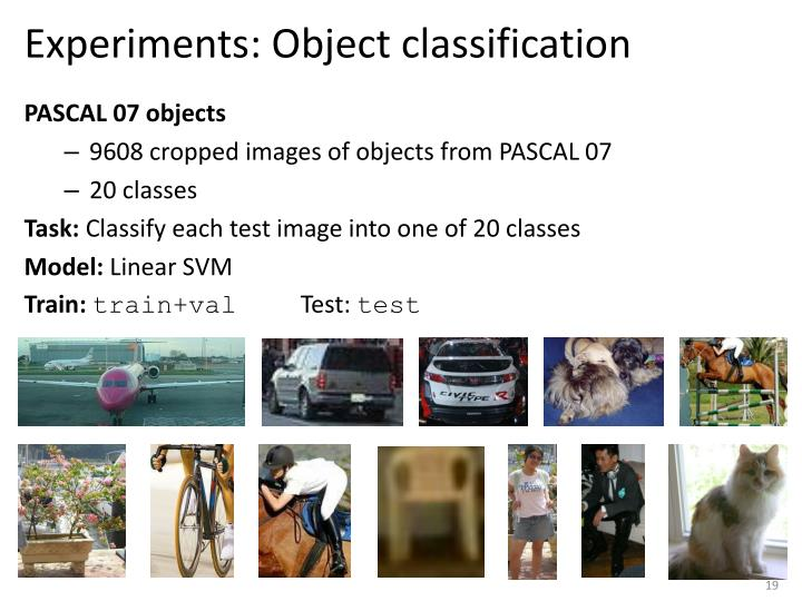 Experiments: Object classification