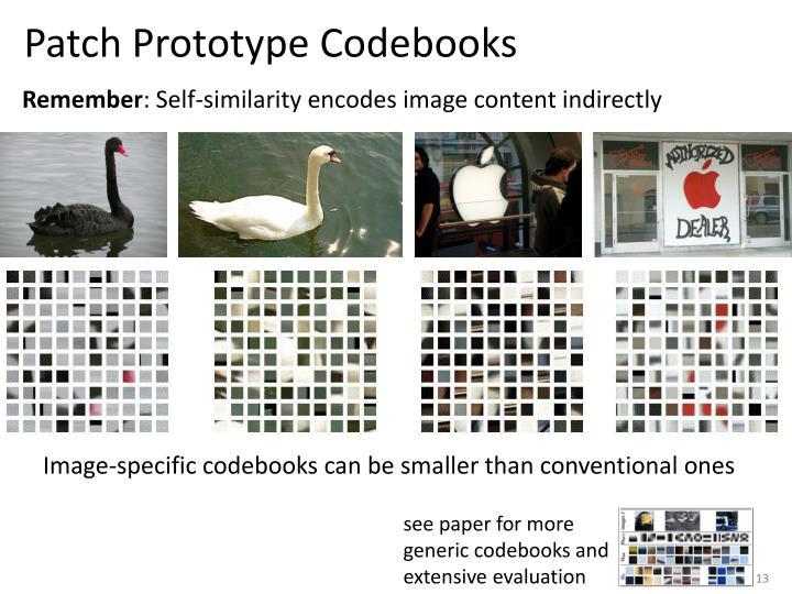 Patch Prototype Codebooks