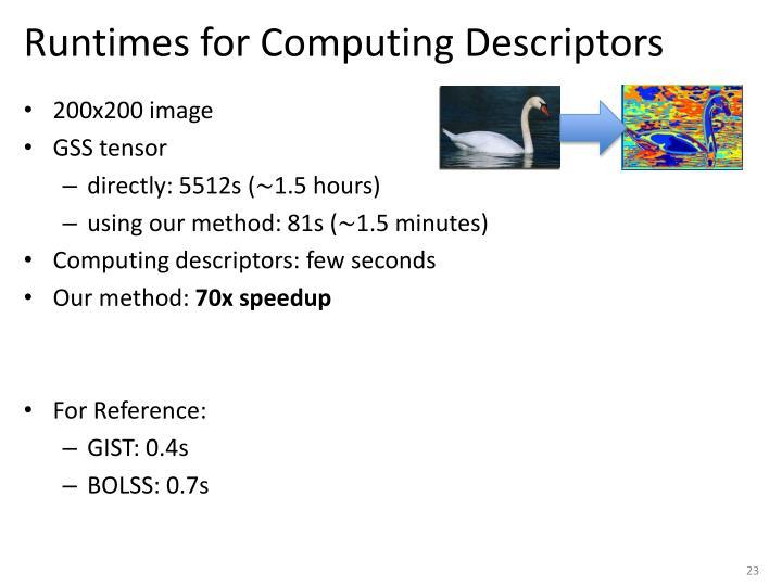 Runtimes for Computing Descriptors