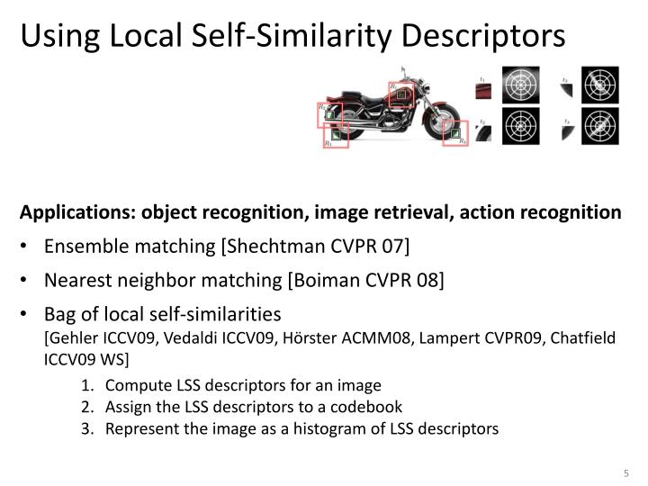 Using Local Self-Similarity Descriptors