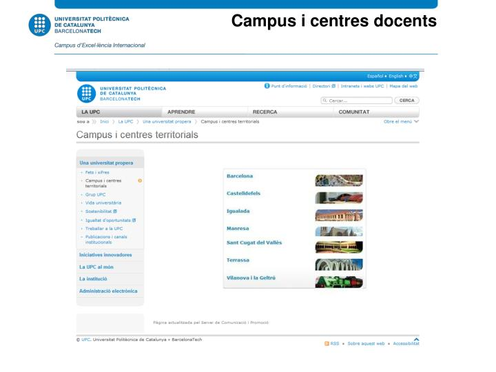 Campus i centres docents