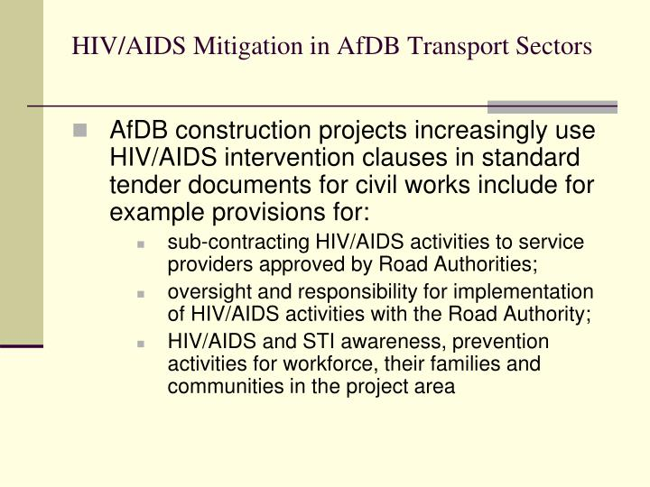 HIV/AIDS Mitigation in AfDB Transport Sectors