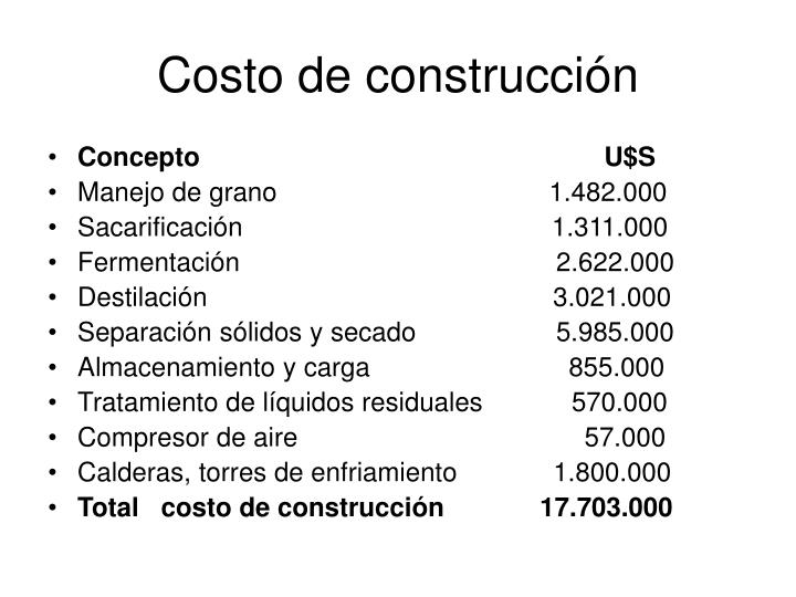 Costo de construcción