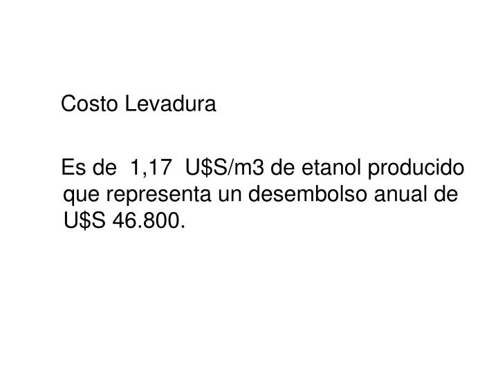 Costo Levadura