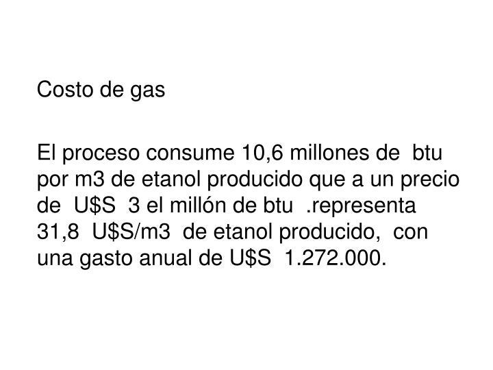 Costo de gas
