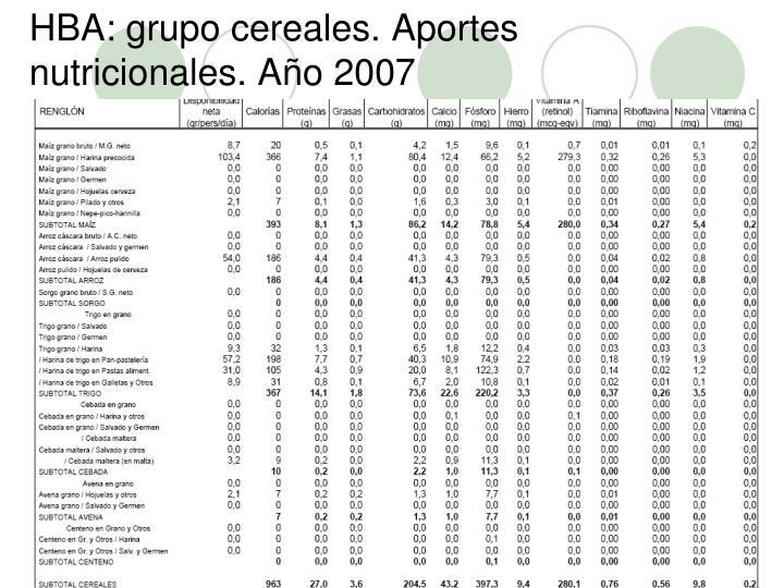 HBA: grupo cereales. Aportes nutricionales. Año 2007