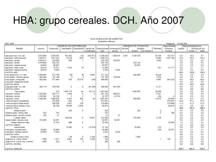 HBA: grupo cereales. DCH. Año 2007