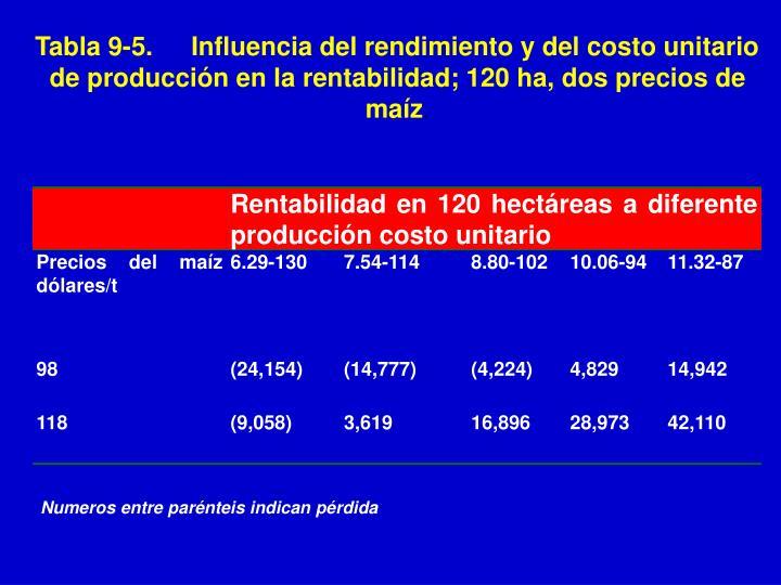 Tabla 9-5.Influencia del rendimiento y del costo unitario de producción en la rentabilidad; 120 ha, dos precios de maíz