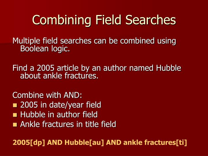 Combining Field Searches