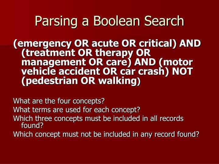 Parsing a Boolean Search