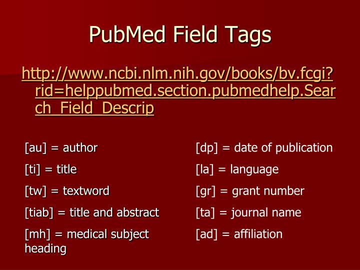 PubMed Field Tags