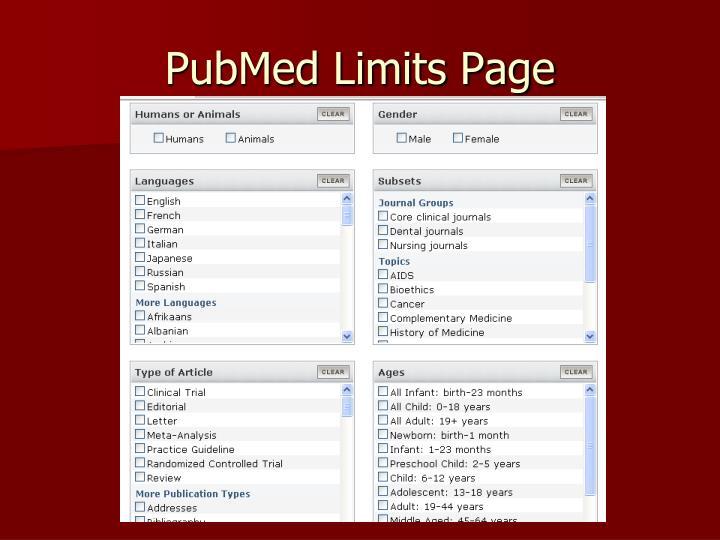 PubMed Limits Page