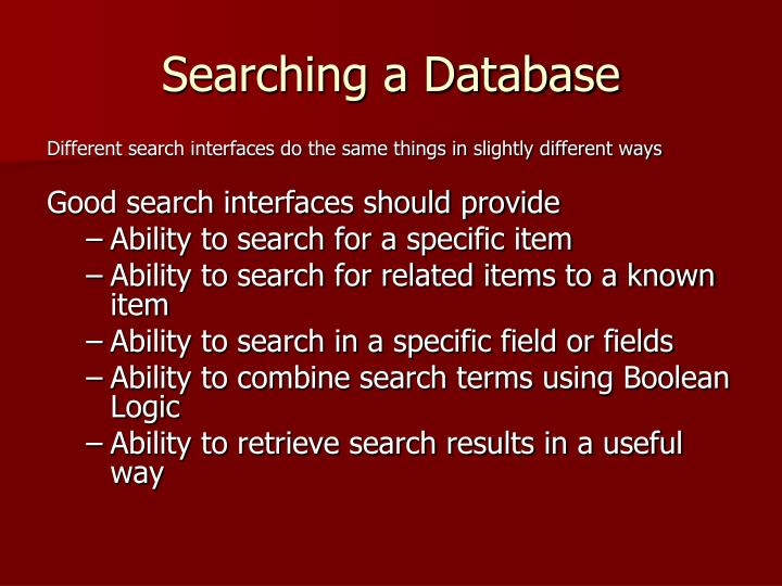 Searching a Database