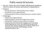 public events lectures